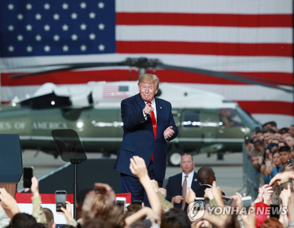 U.S. President Donald Trump delivers speech to service members at Osan Air Base in Gyeonggi Province on June 30, 2019. (Yonhap)