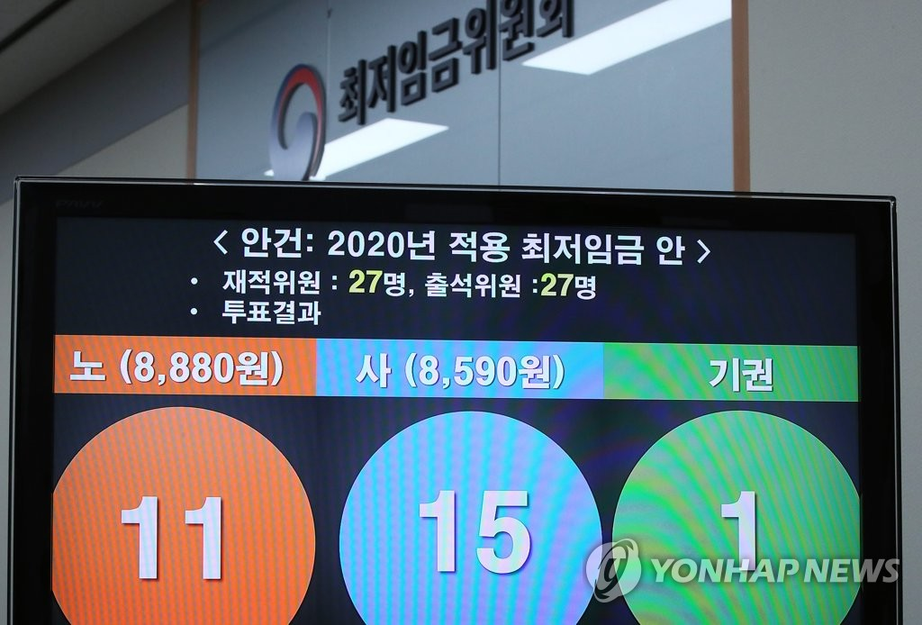 This photo, taken on July 12, 2019, shows the result of a vote for the minimum wage for next year at a meeting of the Minimum Wage Commission held in the administrative capital of Sejong. South Korea raised the minimum wage for 2020 to 8,590 won, up 2.9 percent from this year. (Yonhap)