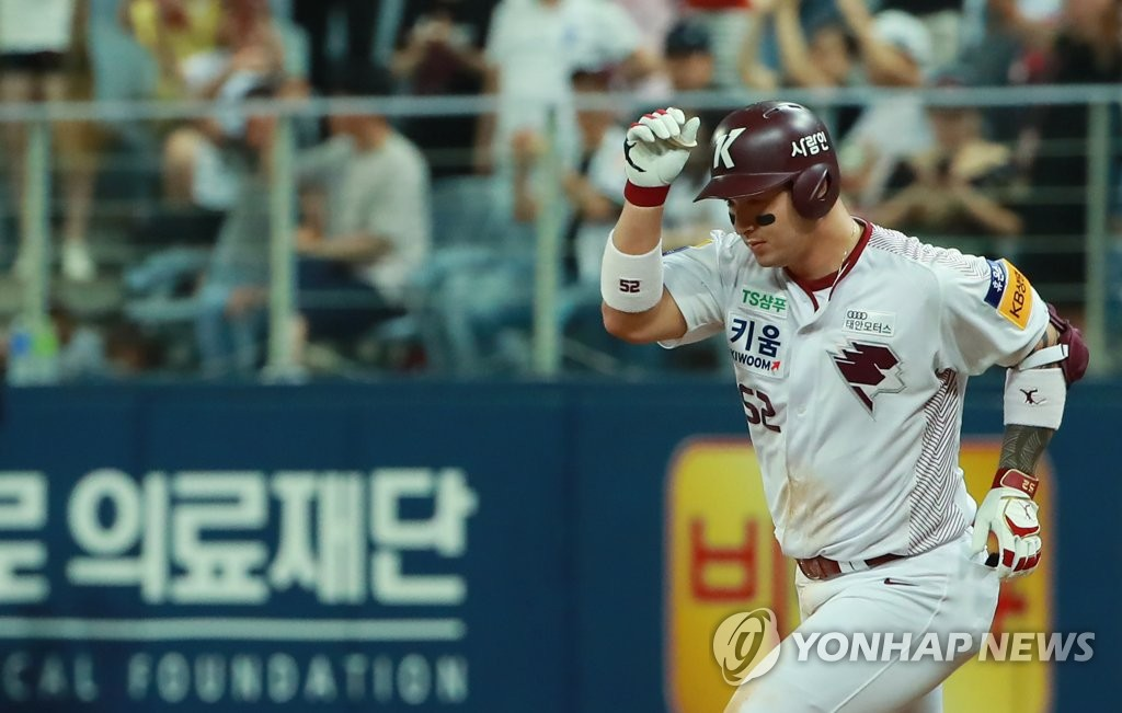 In this file photo from Aug. 11, 2019, Park Byung-ho of the Kiwoom Heroes rounds the bases after hitting a solo home run against the Doosan Bears in the bottom of the sixth inning of a Korea Baseball Organization regular season game at Gocheok Sky Dome in Seoul. (Yonhap)