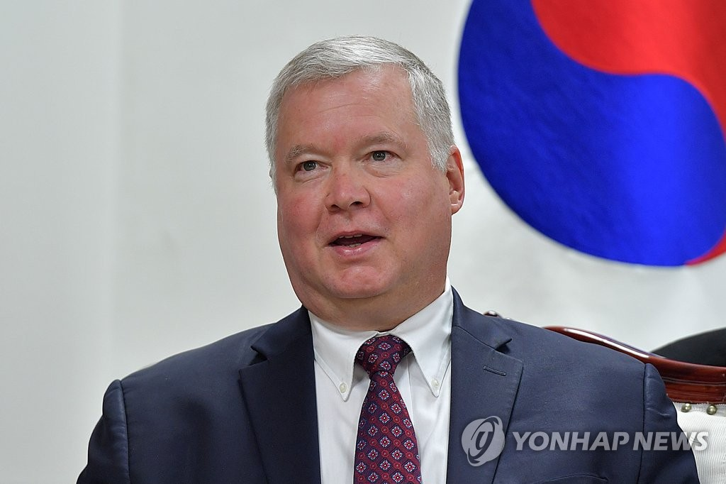 U.S. Special Representative for North Korea Stephen Biegun speaks during a meeting with South Korean Unification Minister Kim Yeon-chul in Seoul on Aug. 21, 2019. (Yonhap)