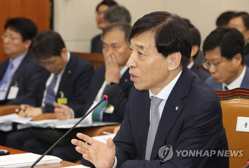 Bank of Korea (BOK) Gov. Lee Ju-yeol speaks at a parliamentary committee meeting in Seoul on Oct. 8, 2019, for the BOK's annual audit. (Yonhap)