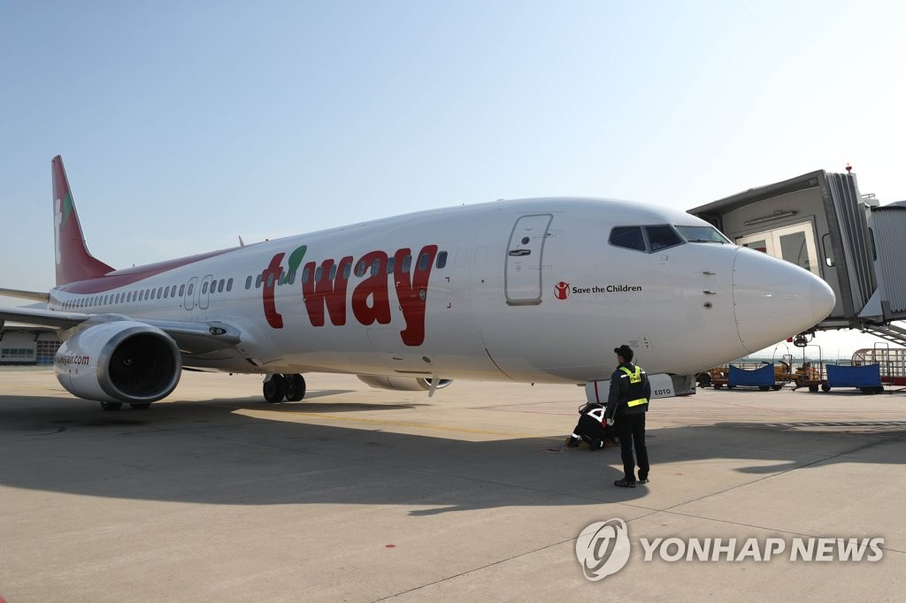This photo taken on Oct. 28, 2019, shows an aircraft operated by T'Way Air Co. at Daegu International Airport in Daegu. (Yonhap)