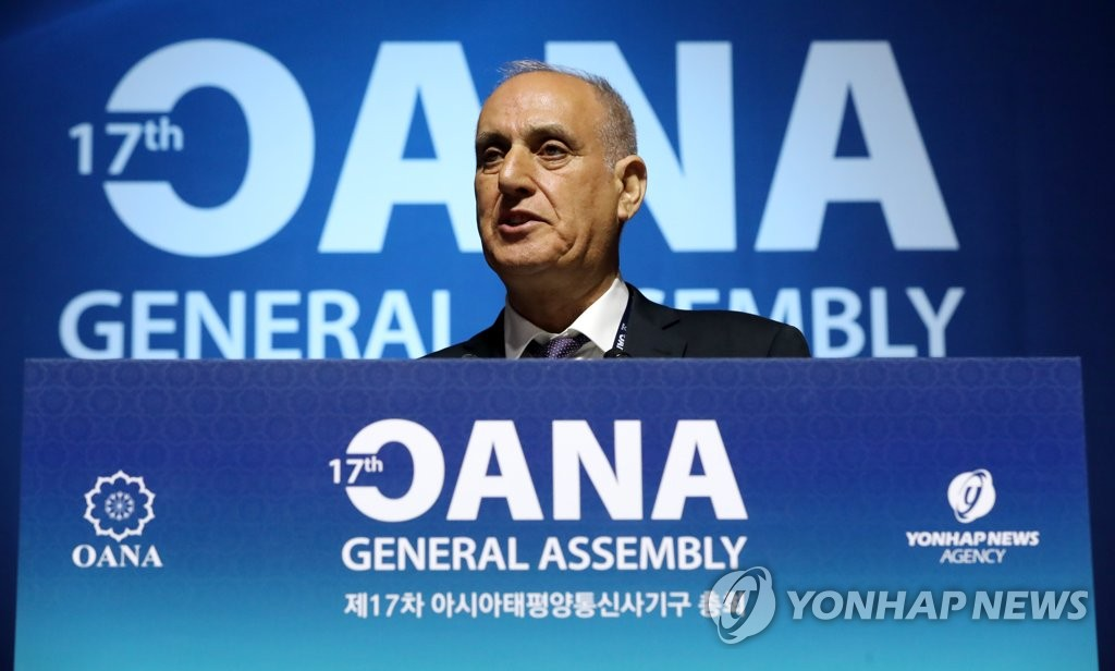 Aslan Aslanov, the outgoing president of OANA, speaks at the 17th OANA General Assembly in Seoul on Nov. 7, 2019. (Yonhap)