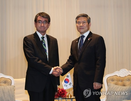 Defense ministers of S. Korea, Japan hold talks in Bangkok