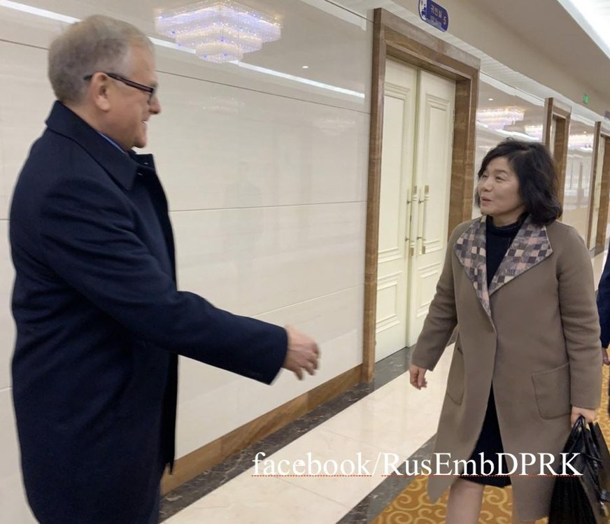 Russian Ambassador to North Korea Alexandre Machegora (L) sees North Korea's First Vice Foreign Minister Choe Son-hui off at Sunan Airport in the North's capital prior to her departure for Moscow on Nov. 18, 2019, in this photo captured from the Facebook account of the Russian mission. The embassy confirmed Choe's trip but did not elaborate on its purpose. (PHOTO NOT FOR SALE) (Yonhap)