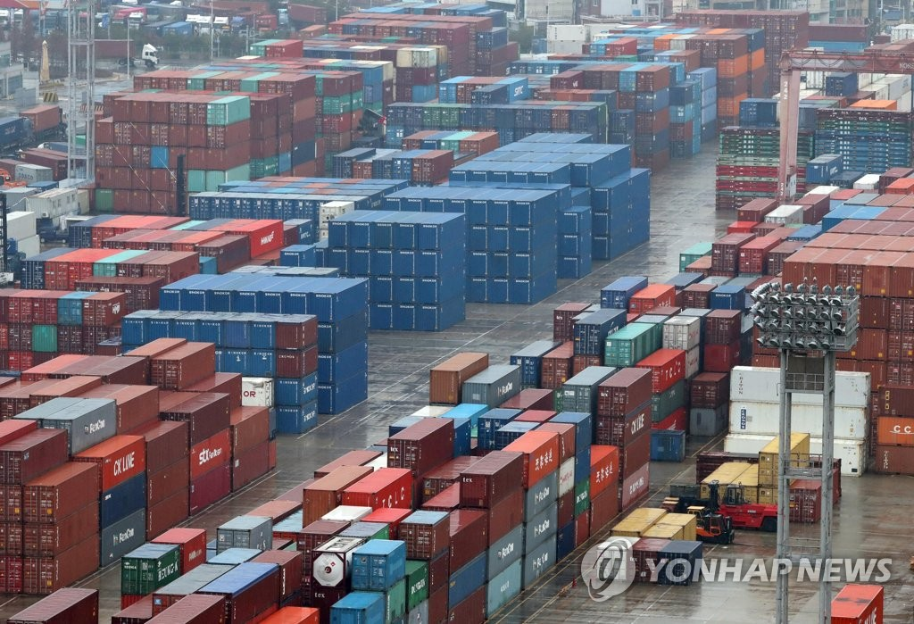 The undated file photo shows stacks of import-export containers at South Korea's largest seaport in Busan, located some 450 kilometers south of Seoul. (Yonhap)