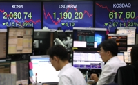 (LEAD) Seoul stocks end lower amid U.S.-China trade woes