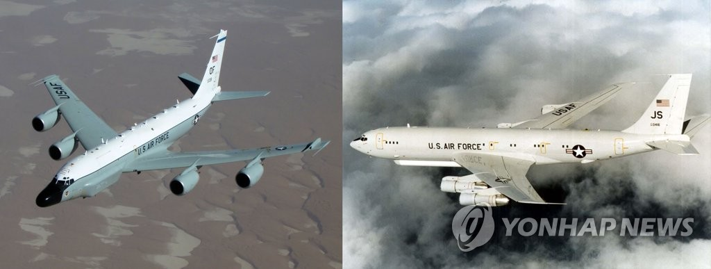 U.S. surveillance aircraft RC-135W (left) and E-8C