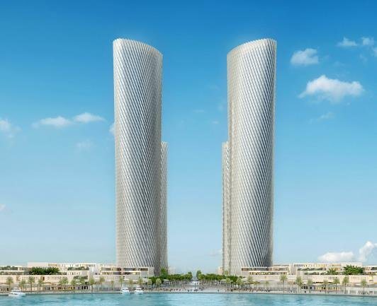 This graphic image, provided by Hyundai Engineering and Construction Co., shows an image of two buildings to be built in Qatar. Hyundai E&C won an order for one of the two buildings. (PHOTO NOT FOR SALE) (Yonhap)