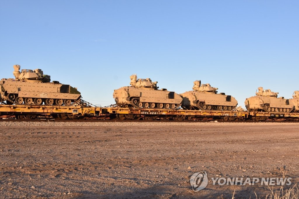 The 2nd Armored Brigade Combat Team of the 1st Infantry Division transports heavy equipment in preparation for its upcoming rotational deployment to South Korea in this photo posted by the unit on Facebook on Jan. 10, 2020. (PHOTO NOT FOR SALE) (Yonhap)