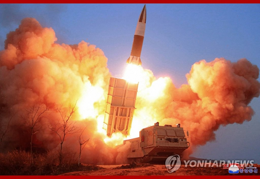 This photo released by the Korean Central News Agency on March 22, 2020 shows a projectile being fired during a test of a newly-developed tactical weapon a day earlier. (For Use Only in the Republic of Korea. No Redistribution) (Yonhap)