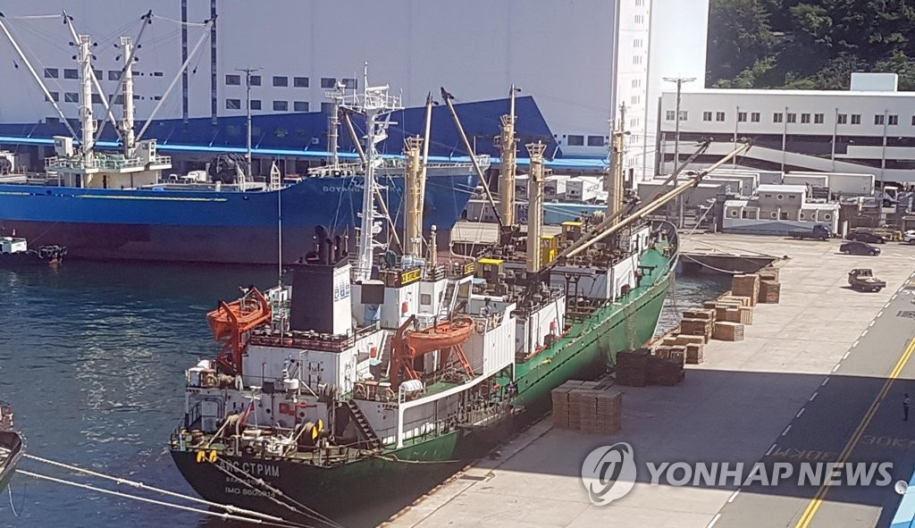This photo, taken on June 23, 2020, shows a Russia-flagged ship docked at a port in South Korea's southeastern city of Busan, where at least 16 cases of the new coronavirus were reported. (Yonhap)