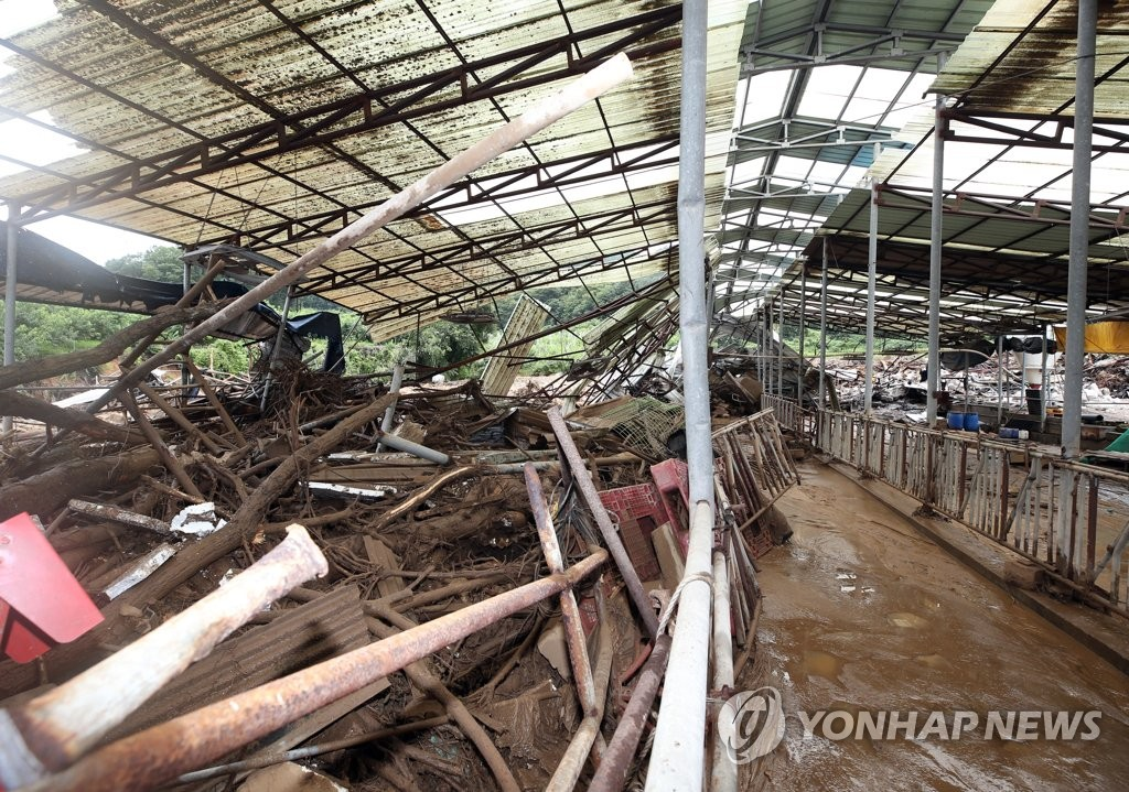 A destroyed cattle shed in Chungju, North Chungcheong Province, is seen after heavy rain on Aug. 2, 2020. (Yonhap)