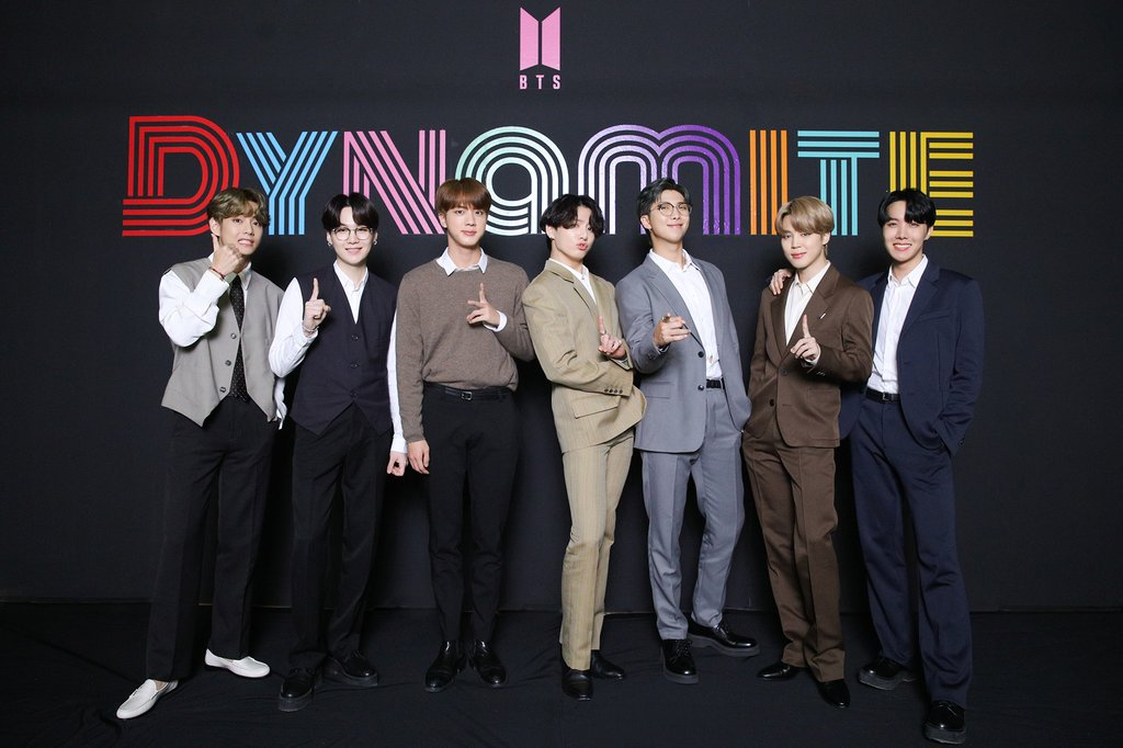 This photo, provided by Big Hit Entertainment, shows BTS attending an online media event in Seoul on Sept. 2, 2020. (PHOTO NOT FOR SALE) (Yonhap)