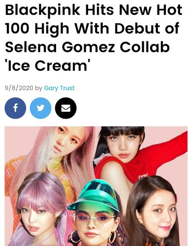 BLACKPINK's 'Ice Cream' debuts at No. 13 on Billboard