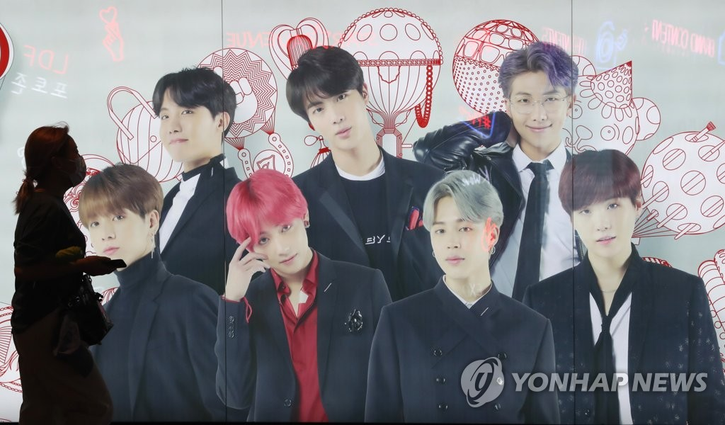 K-pop septet BTS is featured on an advertising signage at a department store in Seoul on Sept. 9, 2020. (Yonhap)