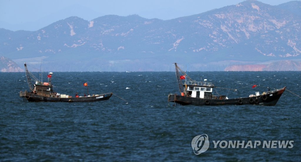 Chinese fishing boats operate in North Korean waters near the de facto inter-Korean sea border in the Yellow Sea on Sept. 26, 2020. A South Korean official floating in the North's waters was killed by North Korean soldiers on Sept. 22. (Yonhap)