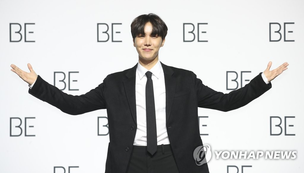 J-Hope of BTS poses for the camera during a press conference held at the Dongdaemun Design Plaza in central Seoul on Nov. 20, 2020. (Yonhap)