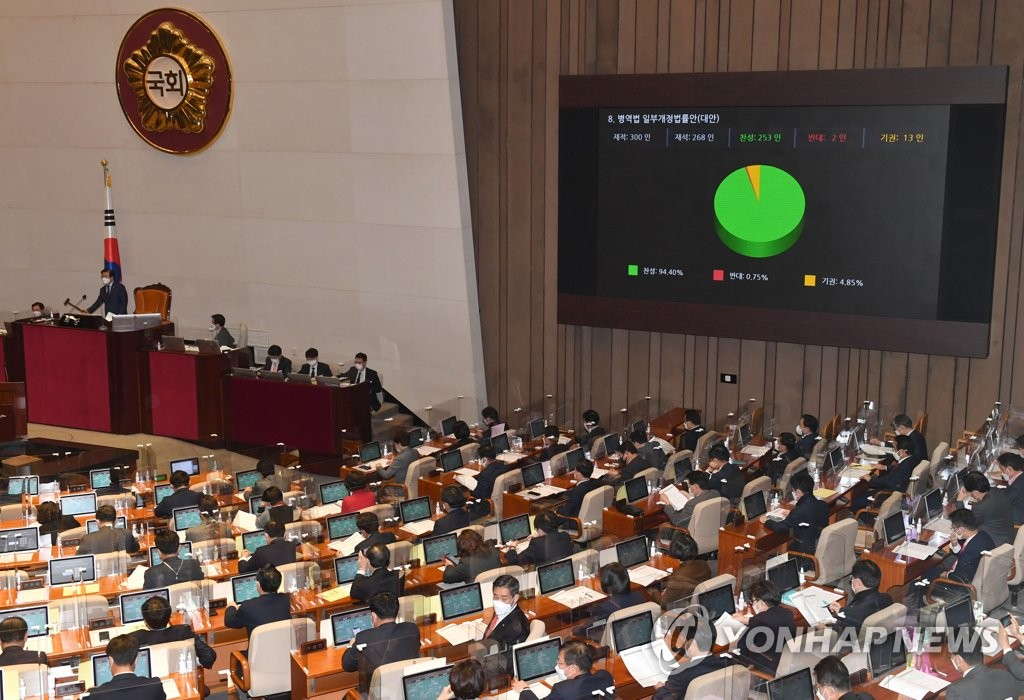National Assembly Speaker Park Byeong-seug announces the passage of a revised Military Act at the parliamentary complex in southern Seoul on Dec. 1, 2020. (Yonhap)