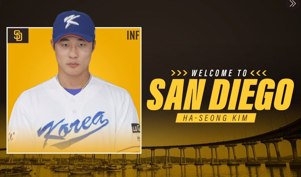 This image captured from the Twitter page of the San Diego Padres shows the club's new South Korean player, Kim Ha-seong, on Jan. 1, 2021. (PHOTO NOT FOR SALE) (Yonhap)