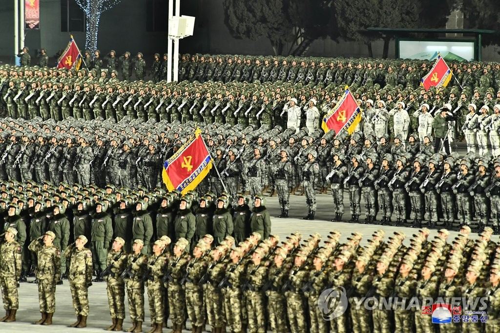 North Korean soldiers take part in a military parade at Kim Il-sung Square in Pyongyang on Jan. 14, 2021, to celebrate the recently concluded eighth congress of the North's ruling Workers' Party, in this photo released by the North's official Korean Central News Agency the next day. (For Use Only in the Republic of Korea. No Redistribution) (Yonhap)