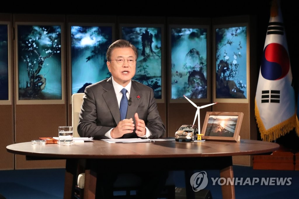 South Korean President Moon Jae-in delivers a special speech during a virtual session of the World Economic Forum (WEF) at Cheong Wa Dae in Seoul on Jan. 27, 2021. (Yonhap)