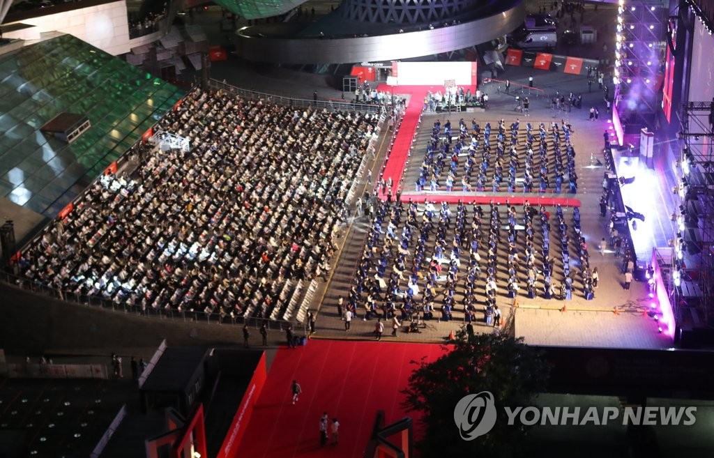 The opening ceremony of the 26th Busan International Film Festival takes place at the Busan Cinema Center in Busan, some 450 kilometers southeast of Seoul, on Oct. 6, 2021. (Yonhap)